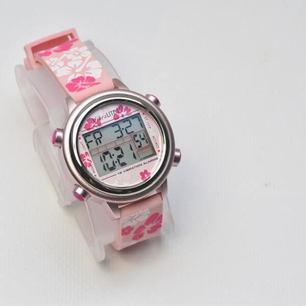 medicijnhorloge vibralite 12 Roze, band met bloemmotief