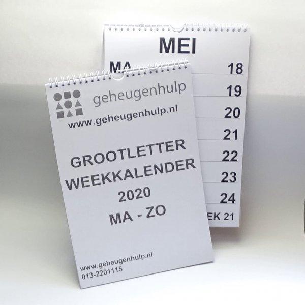 Groot letter weekkalender 2020