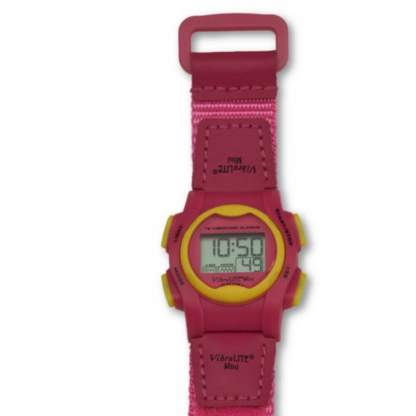 Kleurrijk medicijnhorloge Vibralite mini met 12 alarmen.
