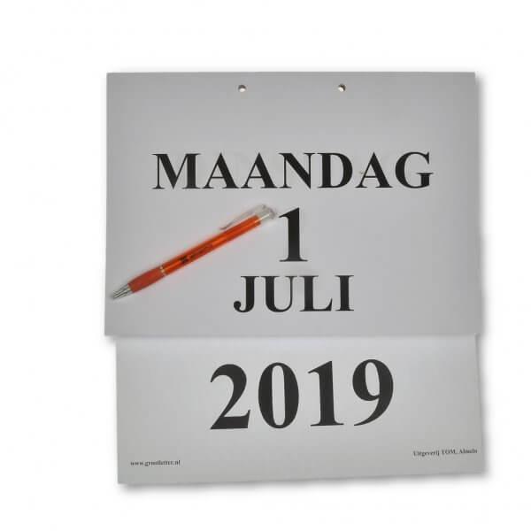 Groot-letter A4 dagkalender 2019