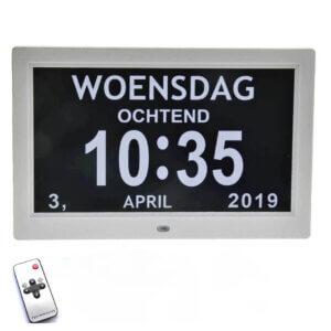 Grote digitale kalenderklok wit met 12 alarmen
