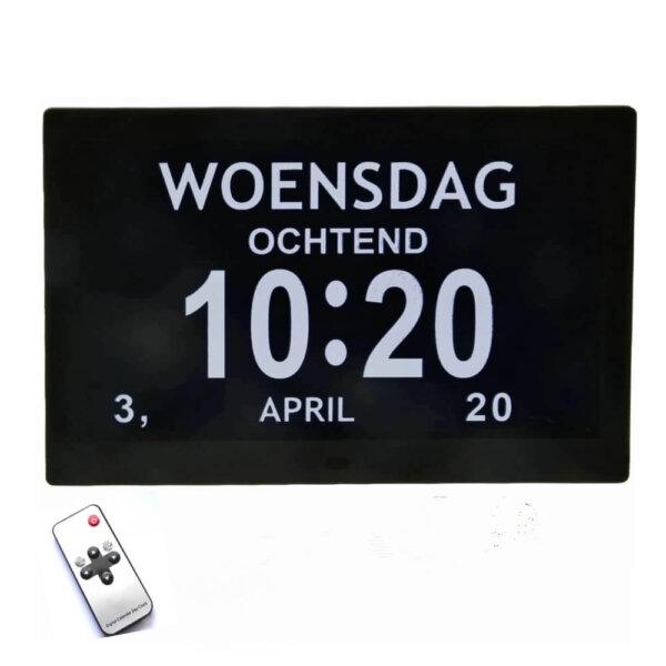 Grote digitale kalenderklok zwart met 12 alarmen