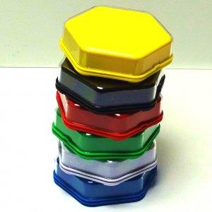 Bundel van 6 kleuren Zeshoekige praatknoppen met verwisselbare afbeelding