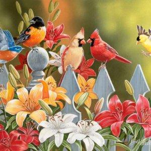 XL-legpuzzel Bloemen en Vogels met grotere puzzelstukken