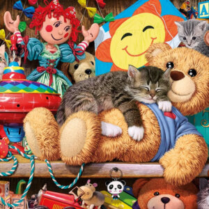 XL-legpuzzel Slapende kat op teddybeer
